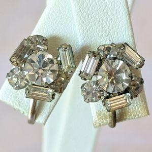Small Vintage Silver Rhinestone Screw Earrings
